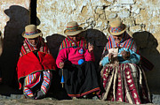 Indigenous Prints - Aymara women spinning wool. In the Bolivian Altiplano. Print by Eric Bauer