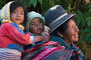 South America Photos - Aymara women with their children. Republic of Bolivia. by Eric Bauer