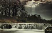Sun Beams Posters - Aysgarth Falls Yorkshire England Poster by John Short