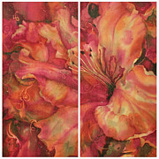 Fiber Art Paintings - Azalea by Deborah Younglao