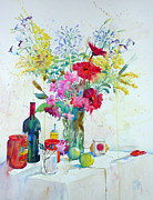 Bouquet Paintings - Azaleas and Agapanthes by Andre MEHU