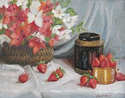 Office Space Painting Originals - Azaleas and Strawberries by Sarah Parks