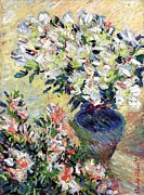 Impressionist Vase Floral Paintings - Azaleas by Claude Monet