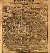 World Cities Posters - Aztec Capital, Tenochtitlan, Now Mexico Poster by Everett