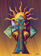 Reds Orange And Blue Metal Prints - Aztec Cross Sun Temple Metal Print by Waylan Loyd