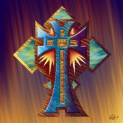 Reds Orange And Blue Prints - Aztec Cross Temple Print by Waylan Loyd