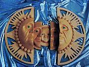 Glass Ceramics Metal Prints - Aztec Generations Mask Metal Print by Debbie  Diamond