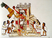 Diety Photos - Aztec Human Sacrifice, Codex by Photo Researchers