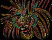 Mayan Painting Framed Prints - Aztec Mayan Skull Warrior Framed Print by Americo Salazar
