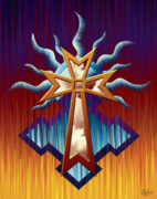 Reds Orange And Blue Metal Prints - Aztec Orange Cross Metal Print by Waylan Loyd
