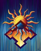 Reds Orange And Blue Metal Prints - Aztec Orange Metal Print by Waylan Loyd