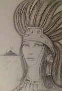 Pyramids Drawings Prints - Aztec Princess Print by  Rene Nava