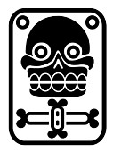 Culture Drawings - Aztec stamp with skull by Michal Boubin