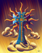 Evening Scenes Digital Art Posters - Aztec Sun Cross 2 Poster by Waylan Loyd