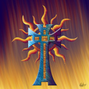 Reds Orange And Blue Metal Prints - Aztec Sun Cross Metal Print by Waylan Loyd