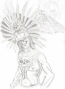 Pyramid Drawings - Aztec Warrior In Front Of Chicchen Itza by Americo Salazar