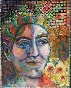 Tiled Mixed Media Prints - Aztec Woman Print by Lee Anne Stieglitz