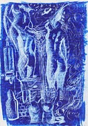 Surrealism Landscape Drawings Prints - Azul 08 Print by Marcos