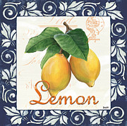 Cream Scroll Prints - Azure Lemon 1 Print by Debbie DeWitt
