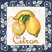 Cream Scroll Prints - Azure Lemon 2 Print by Debbie DeWitt