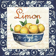 Cream Scroll Prints - Azure Lemon 3 Print by Debbie DeWitt