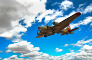 B17 Photographs Prints - B-17 Approach Print by Jim Harris