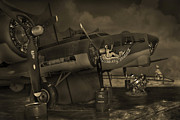 Sepia Tone Framed Prints - B - 17 Field Maintenance  Framed Print by Mike McGlothlen