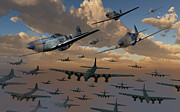 Vintage Air Planes Posters - B-17 Flying Fortress Bombers And P-51 Poster by Mark Stevenson