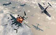 Blowing Up Framed Prints - B-17 Flying Fortress Bombers Encounter Framed Print by Mark Stevenson