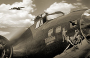 Sepia Tone Framed Prints - B - 17 Memphis Belle Framed Print by Mike McGlothlen