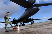 Reading Of Image Prints - B-1b Lancer Mechanics Inspect Print by Stocktrek Images