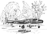 Airplanes Drawings Posters - B 25  Poster by Barney Hedrick