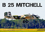 World War Two Artwork Posters - B 25 Mitchell Bomber Poster by David Lee Thompson