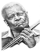 Pencil Portrait Drawings Prints - B B King Print by Murphy Elliott