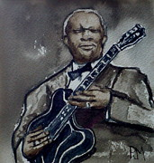 Blues Guitar Paintings - B B King by Pete Maier