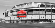 Cubs Prints - B-W Wrigley Print by David Bearden