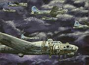 Ww1 Paintings - B17 Bomber by Karen  Peterson