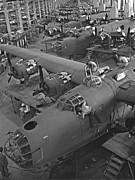Fuselages Prints - B24 War Bird Assembly 1943 Print by Padre Art