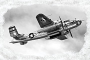 B25 Photographs Prints - B25 In Flight Print by Greg Fortier