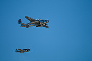 Bomber Escort Photo Posters - B25 Mitchell Bomber with Corsair Mustang Fighter Escort Poster by Paul Mangold