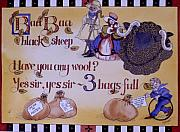 Nursery Rhyme Paintings - Baa Baa Black Sheep by Victoria Heryet