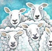 Flock Of Sheep Painting Posters - Baa Poster by Caroline Peacock