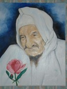 Baba Paintings - Baba Sali with Rose by Miriam Shaw