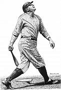 New York Yankees Drawings Originals - Babe Pops Up by Bruce Kay