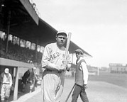 Baseball Bat Photo Metal Prints - Babe Ruth, 1919 Metal Print by Everett
