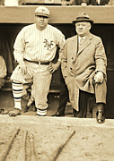 Ball Fields Posters - Babe Ruth and John McGraw 1923 Poster by Padre Art