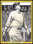 New York Yankees Mixed Media Posters - Babe Ruth hits one out of the park  Poster by Ray Tapajna