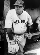 Baseball Uniform Metal Prints - Babe Ruth In The New York Yankees Metal Print by Everett