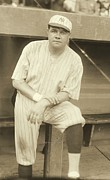Baseball Photographs Posters - Babe Ruth Posing Poster by Padre Art