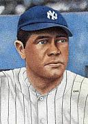 New York Yankees Drawings - Babe Ruth by Rob Payne